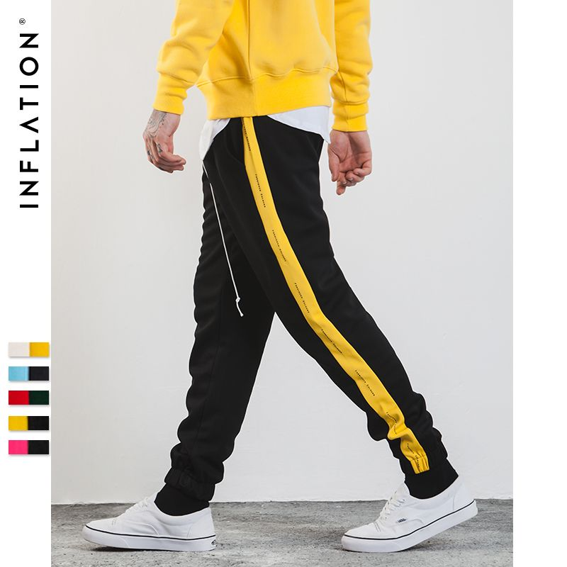 INFLATION 2018 Mens Sweatpants Side Stripe Letter Printing Contrast Color Jogger Elastic Waist Mens SweatPants 357W17