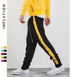 L'INFLATION 2018 Hommes Pantalon Côté Bande Lettre Contraste D'impression Couleur Jogger Élastique Taille Mens pantalons de Survêtement 357W17