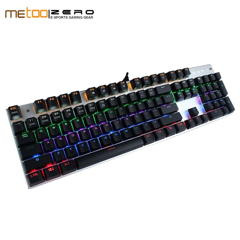 METOO ZERO Russian Changeable LED with Color Luminous Backlit Multimedia Ergonomic Gaming Keyboard