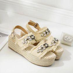 MONMOIRA Cristal Femmes Sandales Bride Arrière Pêcheur Espadrilles Sandales Strass Plate-Forme Sandales Femmes Chaussures D'été SWC0200