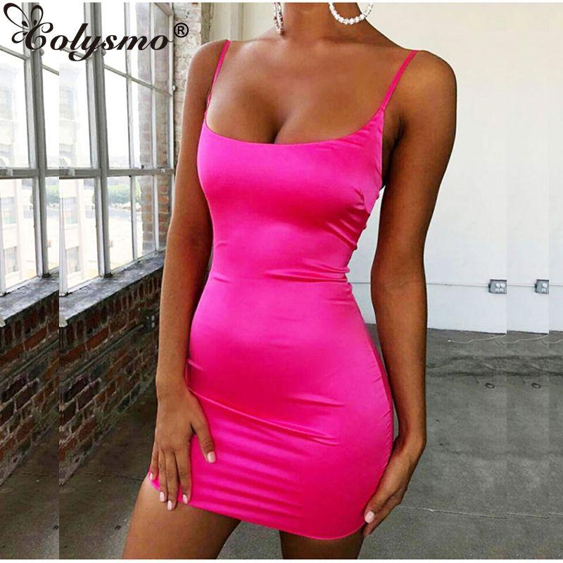Colysmo Stretch Mini robe en Satin femmes Sexy bretelles Slim Fit moulante robe de soirée néon vert rose robe d'été à double couche