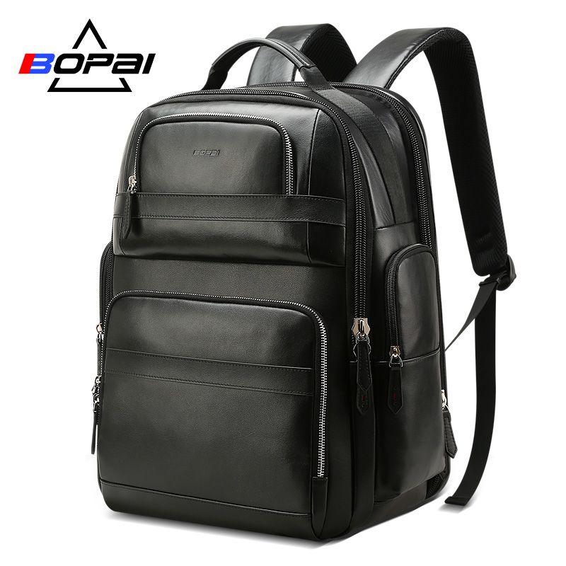 BOPAI Luxus Echtem Leder Rucksack für Männer Frauen Reisen Schwarz Bagpack Top Schicht Kuh Leder Männer Business Laptop Rucksäcke