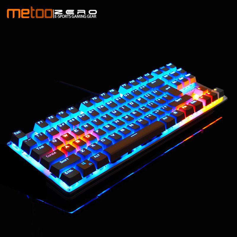 Metoo clavier mécanique 87/104 Anti-fantôme lumineux bleu noir interrupteur rétro-éclairé filaire clavier de jeu russe/anglais/Spainsh