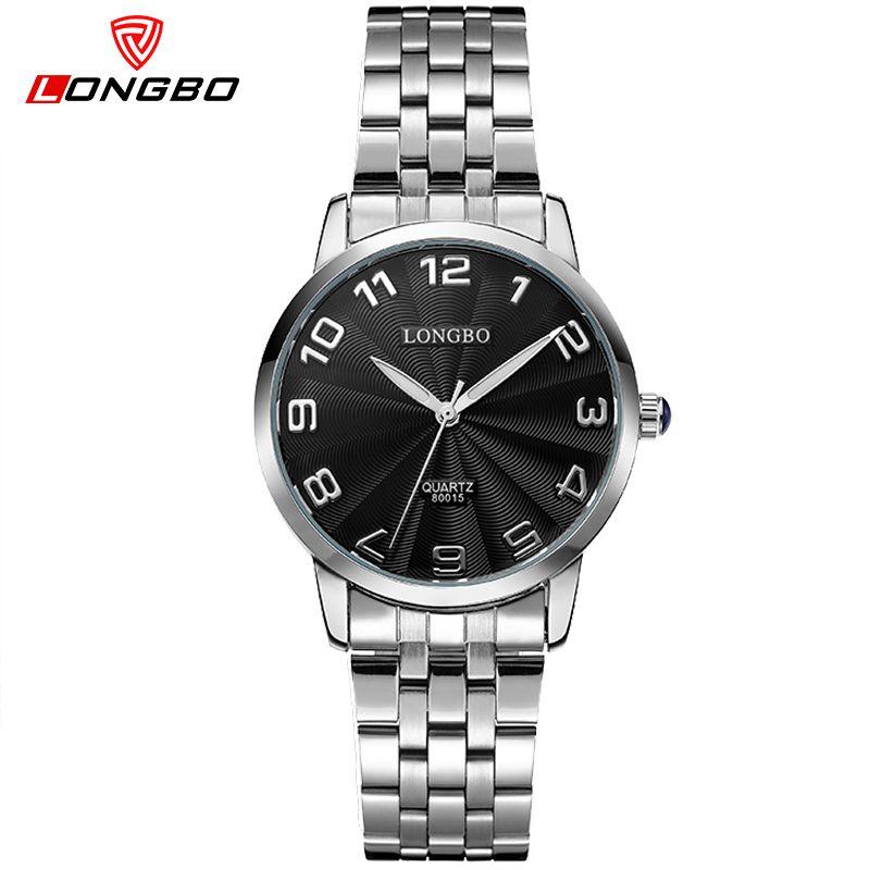 LONGBO amantes reloj de acero inoxidable back light hombres mujeres pareja de moda casual relojes de cuarzo relogios reloj impermeable 80015
