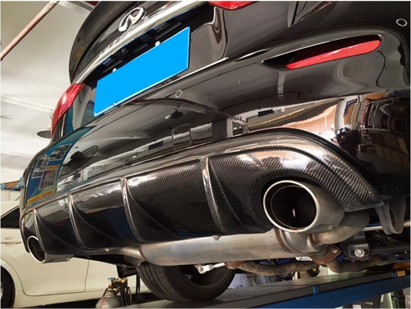 JIOYNG Carbon fiber REAR TRUNK LIP SPOILER DIFFUSER EXHAUST BUMPER PROTECTOR COVER FOR infiniti Q50 Q50L 2014 2015 2016 2017
