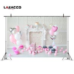 Laeacco Fireplace Pink Balloons 1st Birthday Baby Photography Backdrops Vinyl Seamless Camera Backgrounds For Photo Studio Props