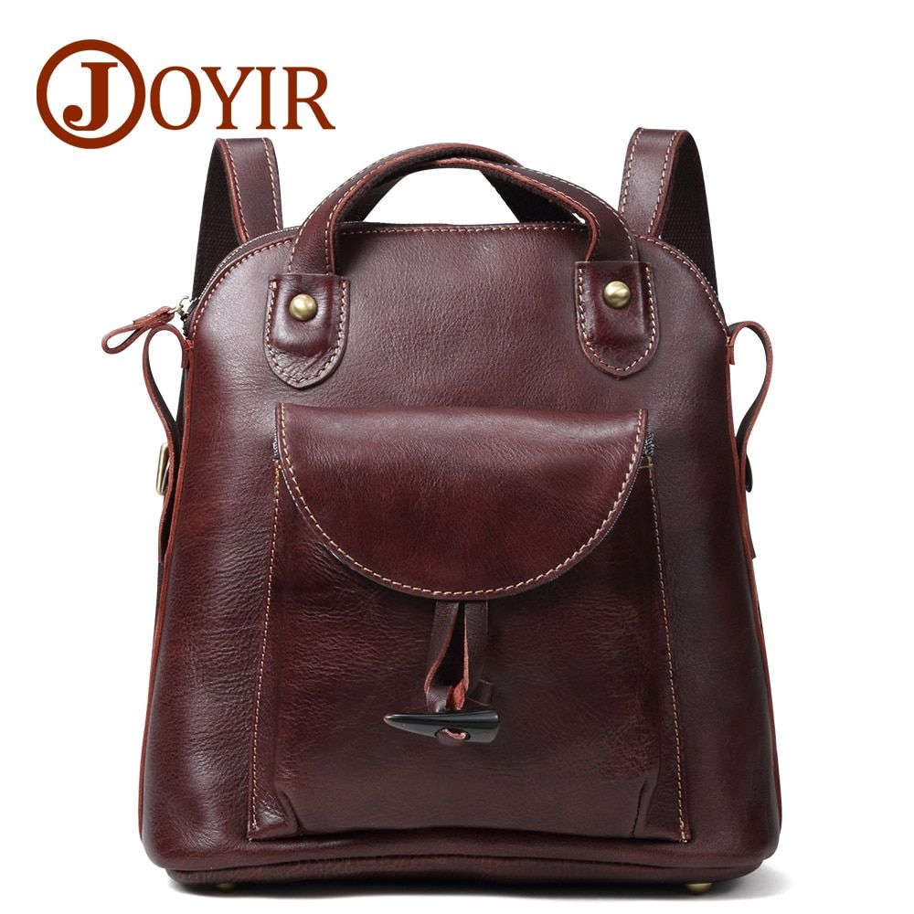 JOYIR Women's Backpack Genuine Leather Vintage School bags for Teenagers Girls Female Backpacks Women Travel Backpack Bags 3011
