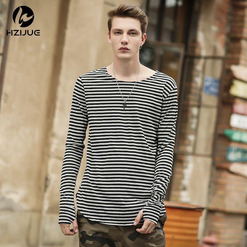 HZIJUE 2018 Men t shirts tyga hip hop swag <font><b>striped</b></font> long sleeve t shirt extended kanye men oversized tee shirt homme t shirt men