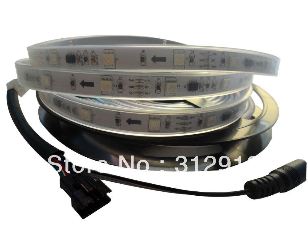 5m DC12V 30leds/m 10pcs ws2811 ic/meter(10pixels) led digital strip;IP66;waterproof in silicon tube