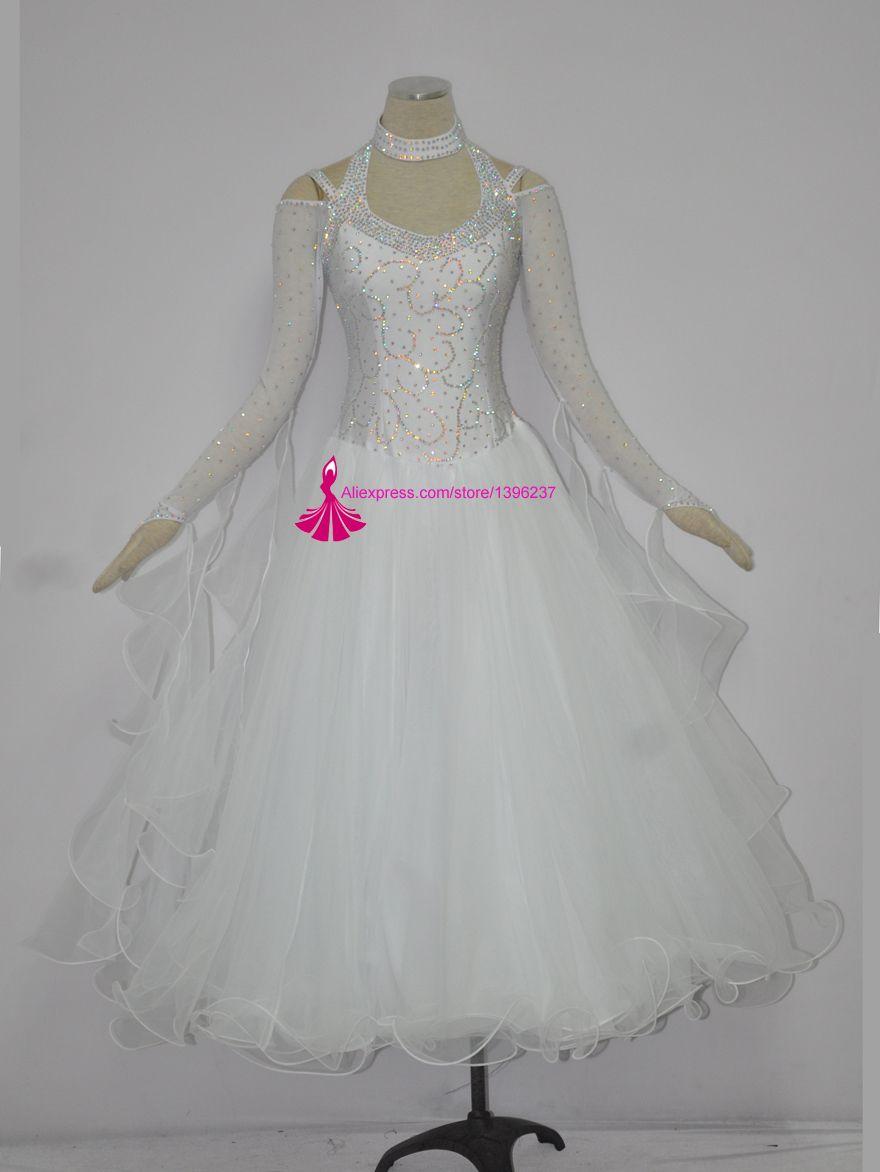 Ballroom Dance Kostüm Erwachsene Langarm Elegante Weiße Farbe Moderne Flamenco Walzer Ballsaal Turniertanz Kleider