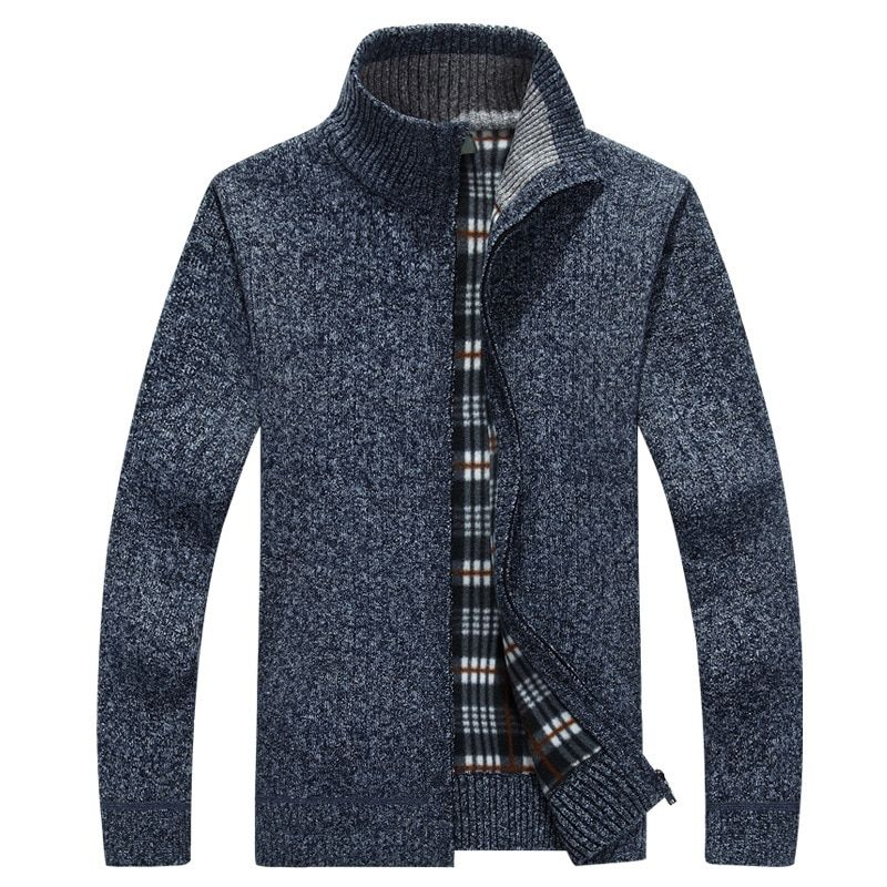 2018 Men Thick Stand Collar Knit Sweaters Solid Colour Mens Sweater Zipper Design Warm Cardigan Jacket Slim Outwear