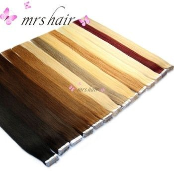 MRSHAIR 6 # Peau Trame de Cheveux Humains Droite 20 pcs du Ruban En Extension Non-Remy Cheveux Ruban Adhésif Double Face cheveux 16