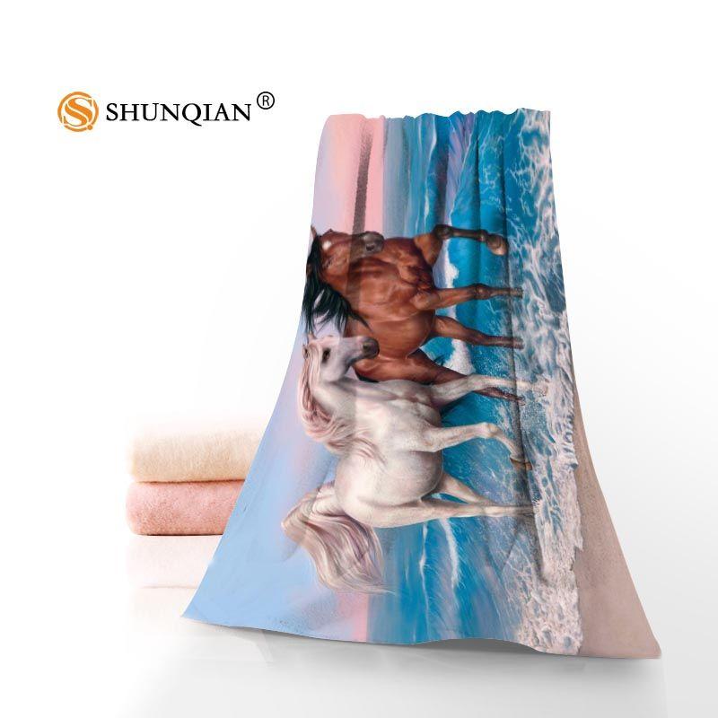 Nouveau personnalisé cheval animaux serviette imprimé coton visage/serviettes de bain en microfibre tissu pour enfants hommes femmes serviettes de douche A8.8