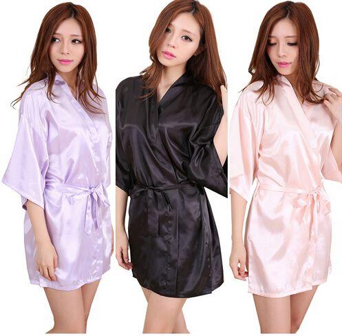 RB034 2016 nouvelles Robes de demoiselle d'honneur en Satin, Robes de mariée/Kimono en fausse soie blanche pour mariage