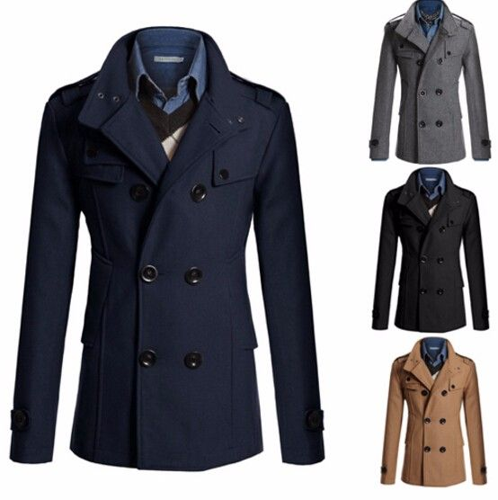 Fashion Slim Fit Long Coat Warm Double Breasted Peacoat Coat Jacket - Black Gray Navy Camel M-XXL