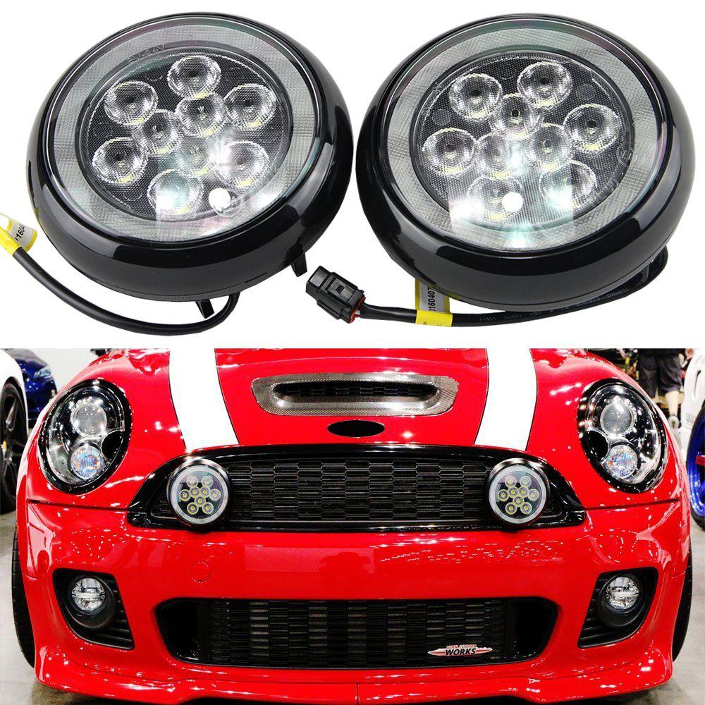 2x Wasserdichte 12V 12W Auto LED DRL Tagfahrlicht mit halo ring nebel lampe für MINI Cooper 2nd Gen R55 R56 R57 R58 R60 R61