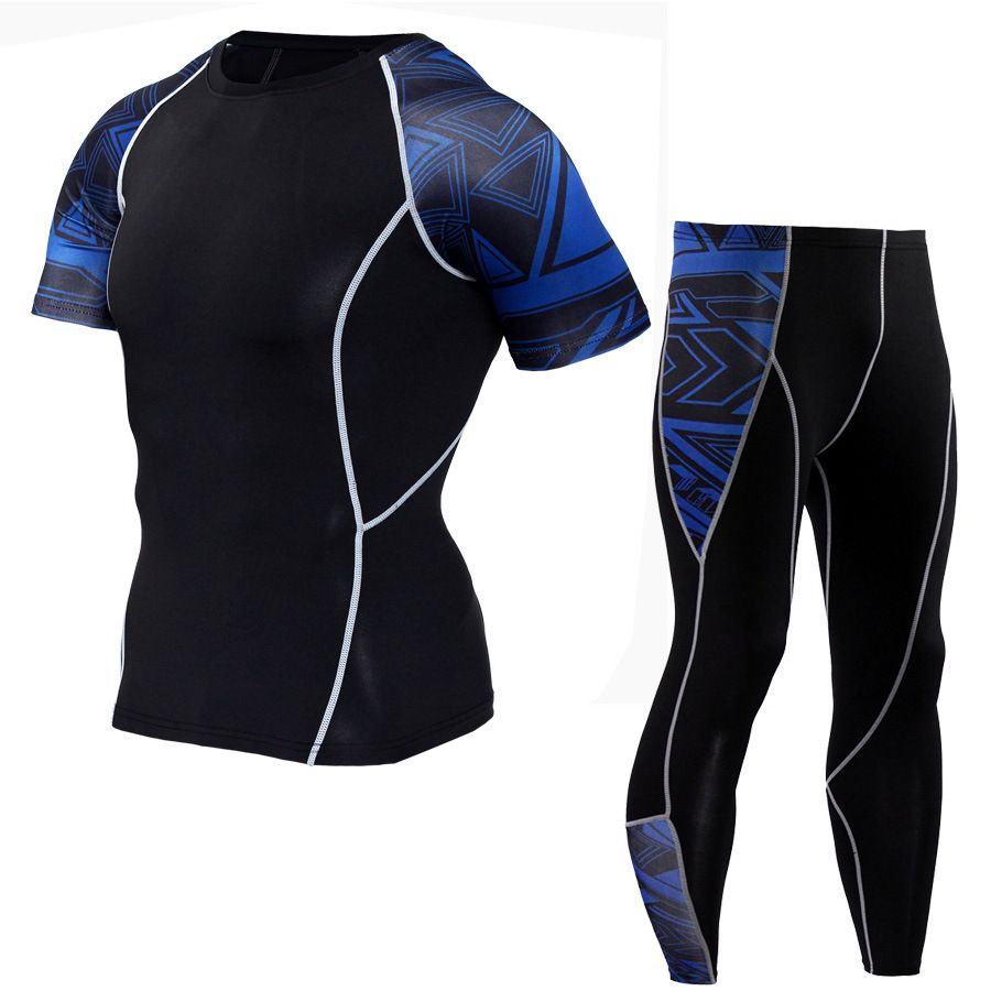 crossfit Fitness Men's Set MMA rash guard Men's Tights Tops Coats Set Functional T-Shirts Men's Thermal Underwear S-4XL