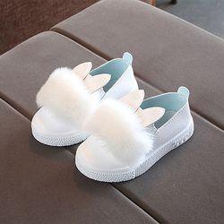 MUQGEW/Детская меховая обувь для девочек; меховые туфли принцессы с заячьими ушками; меховые кроссовки для детей; кожаные тонкие туфли; # XTN