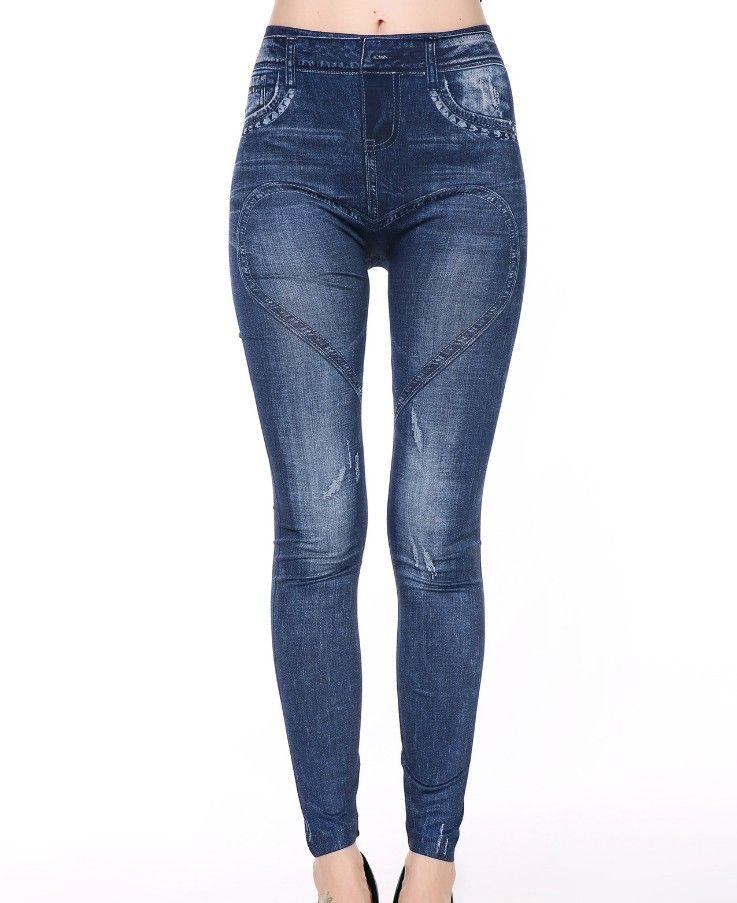 Поддельные Жан Печатных Леггинсы для женщин 2017, женская обувь высокие эластичные Джеггинсы Поддельные джинсы Для женщин S Леггинсы для женщ...