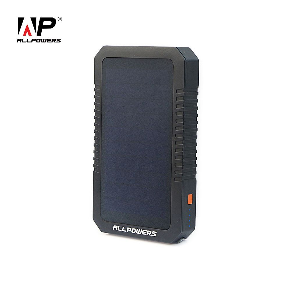 ALLPOWERS 12000mAh Solar Power Bank Portable Power Charger External Battery for iPhone iPad Samsung Cell Phone Tablet