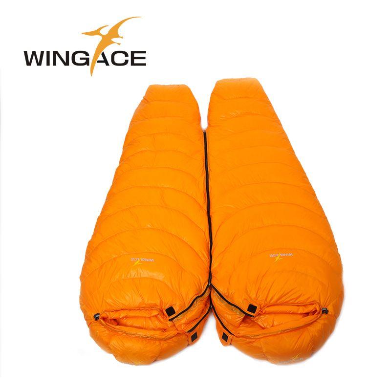 WINGACE Mummy Winter Sleeping Bag Adult Tourist Climbing Camping Outdoor Travel Fill 2500G 95% White Duck Down Sleeping Bags