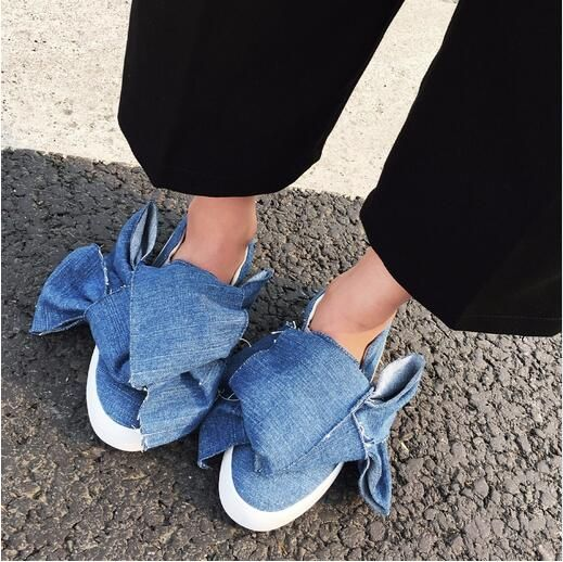 MIKISHYDA Autumn Fashion Solid Color Denim Cloth Big Bow Tie Flat Bottom jean sandals Casual Shoes New Women Travel Gym gladiat