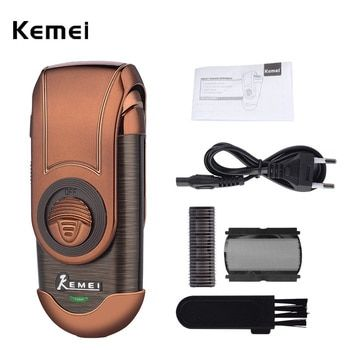 Kemei Portable Electric Shaver 3D Double Floating Rechargeable Beard Trimmer Razor Reciprocating Shaver for Men Face Care Tool 0