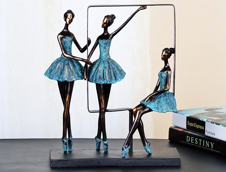 Elegant Minimalist Abstract Ballet Girls Dancer Sculpture Resin Craft Embellishment Accessories for House Decoration and Present