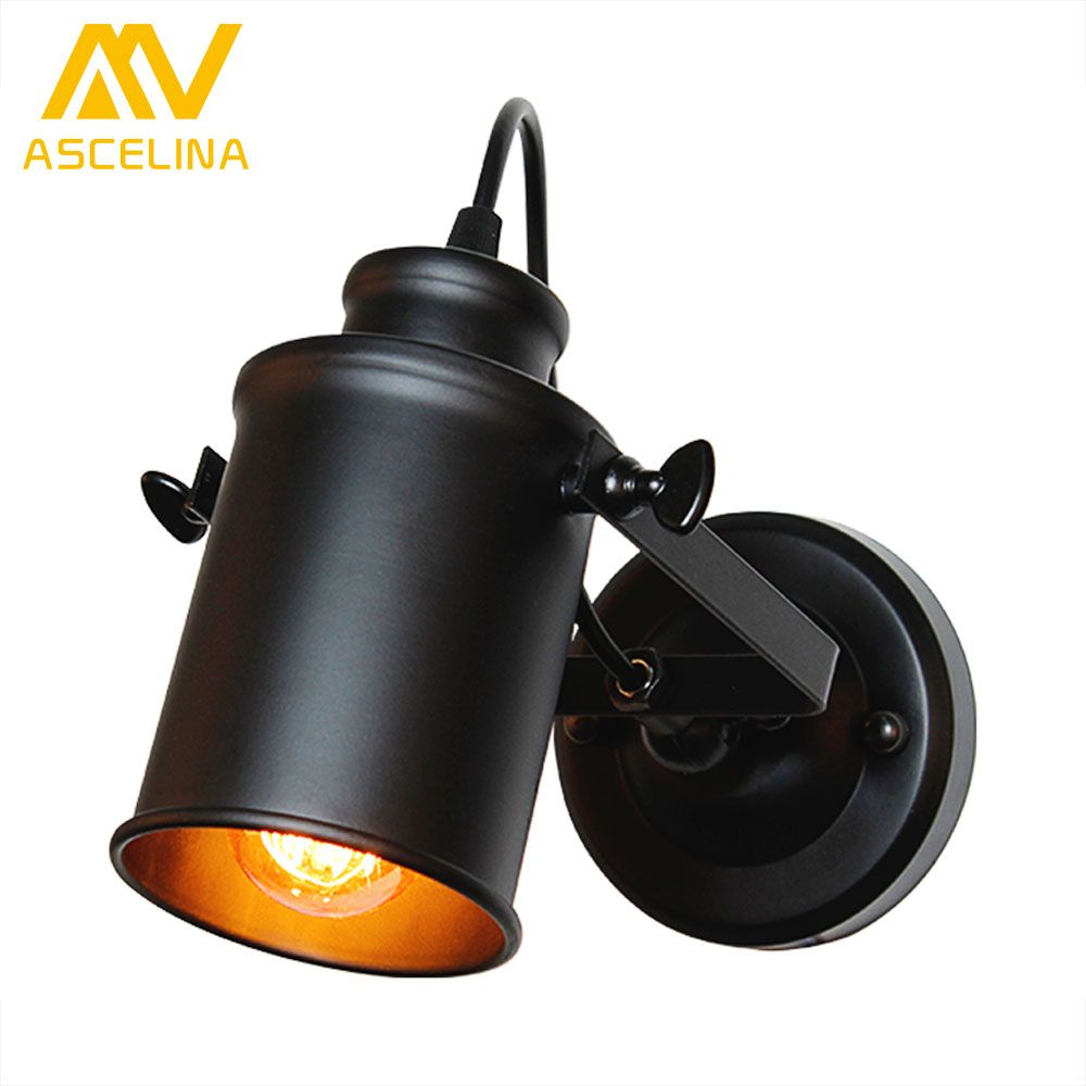 ASCELINA Wall Lamp American Retro Country Loft Style LED lamps <font><b>Industrial</b></font> Vintage Iron wall light for Bar Cafe Home Lighting