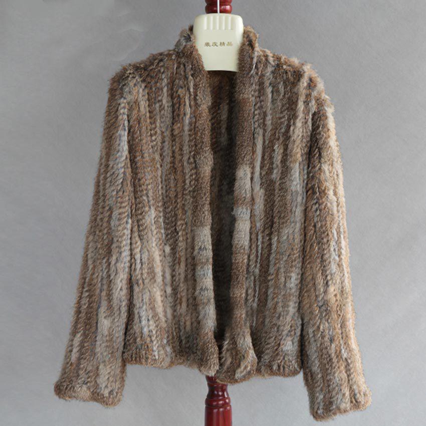 2017 neue Winter Herbst Frauen Echt Pelzmantel Weibliche Gestrickte Kaninchen Mäntel Jacke Lässig Dicke Warme Art Und Weise Dünnen Mantel Kleidung