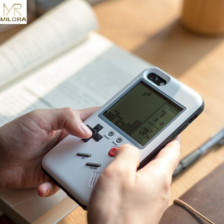MLR Rétro GB Gameboy Tetris Téléphone Cas pour iPhone 6 6 S 7 8 Plus Tpu Peut Jouer Jeu Blokus Console Couverture Pour Iphone X