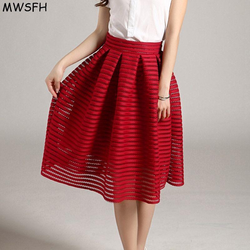 MWSFH été nouveau Style Sexy mode jupe femmes rayé creux-out moelleux jupe Swing jupes dames noir rouge robe de bal longue