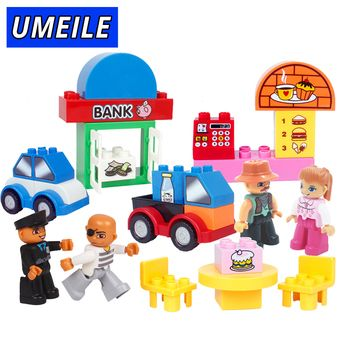 UMEILE 39PCS Original Classic Big Building Block Cowboy Cake City Girl Figure Kids Toys Compatible with Duplo Christmas Gift