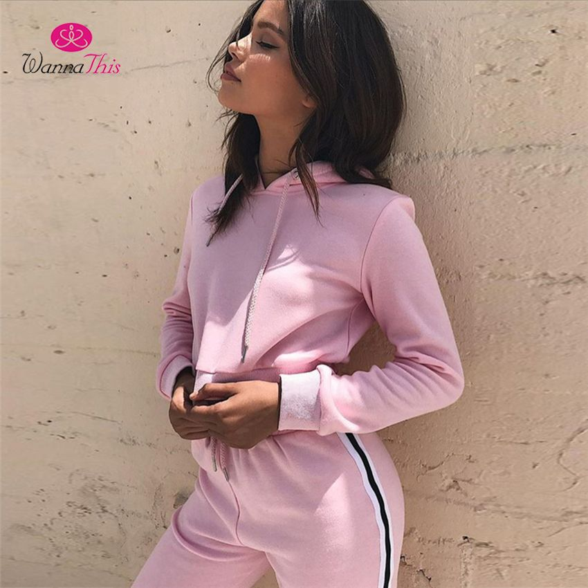 WannaThis 2017 Autumn 2 Pieces Sets Women Side Stripe Cotton Pink Color Tracksuits Long Sleeve Crop Tops Sporting Workout Pants
