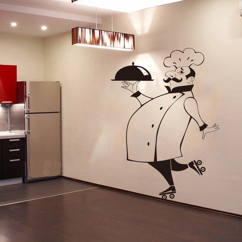 Autocollants muraux de Chef drôle pour les murs de verre de tuile de cuisine autocollant mural imperméable de vinyle décor à la maison Stickers muraux maison DecorationGG-49