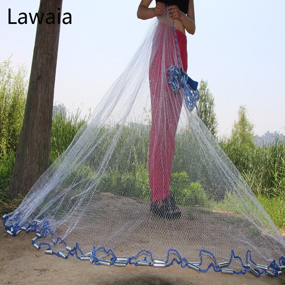 Lawaia American Hand <font><b>Cast</b></font> Net Diameter 2.4- 7.2m Fishing Net 4.2m Fishing Network 3m Fishing Nets Or No Pendant Fishing-nets