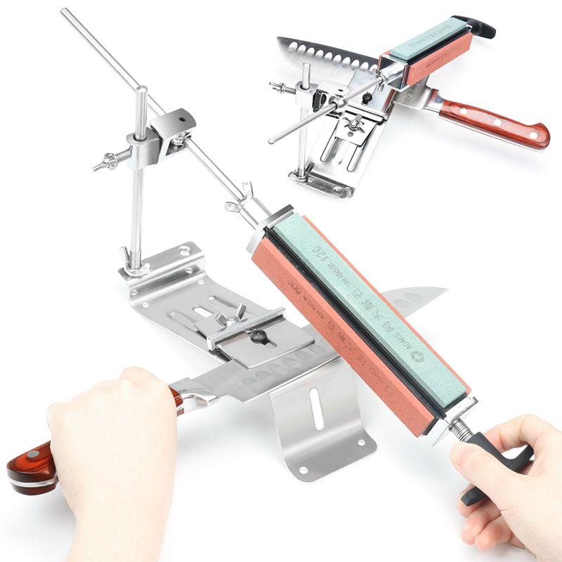 2019 nouveau fer acier cuisine aiguiseur professionnel cuisine couteau aiguiseur outils d'affûtage Fix-angle avec 4 pierres Whetstone