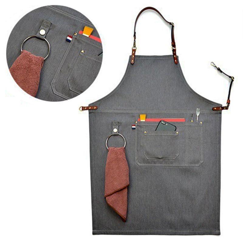 2018 Senior Denim cowboy BBQ Schürze Lätzchen Lederriemen Küchenschürze für Frauen Männer Friseur-und kochen Restaurant Kellnerin Print Logo