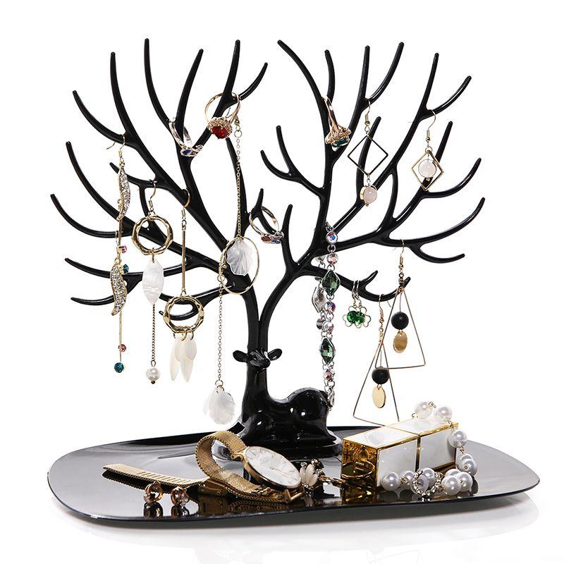 ANFEI petit cerf boucles d'oreilles collier anneau pendentif Bracelet bijoux présentoir plateau arbre stockage supports support organisateur H39
