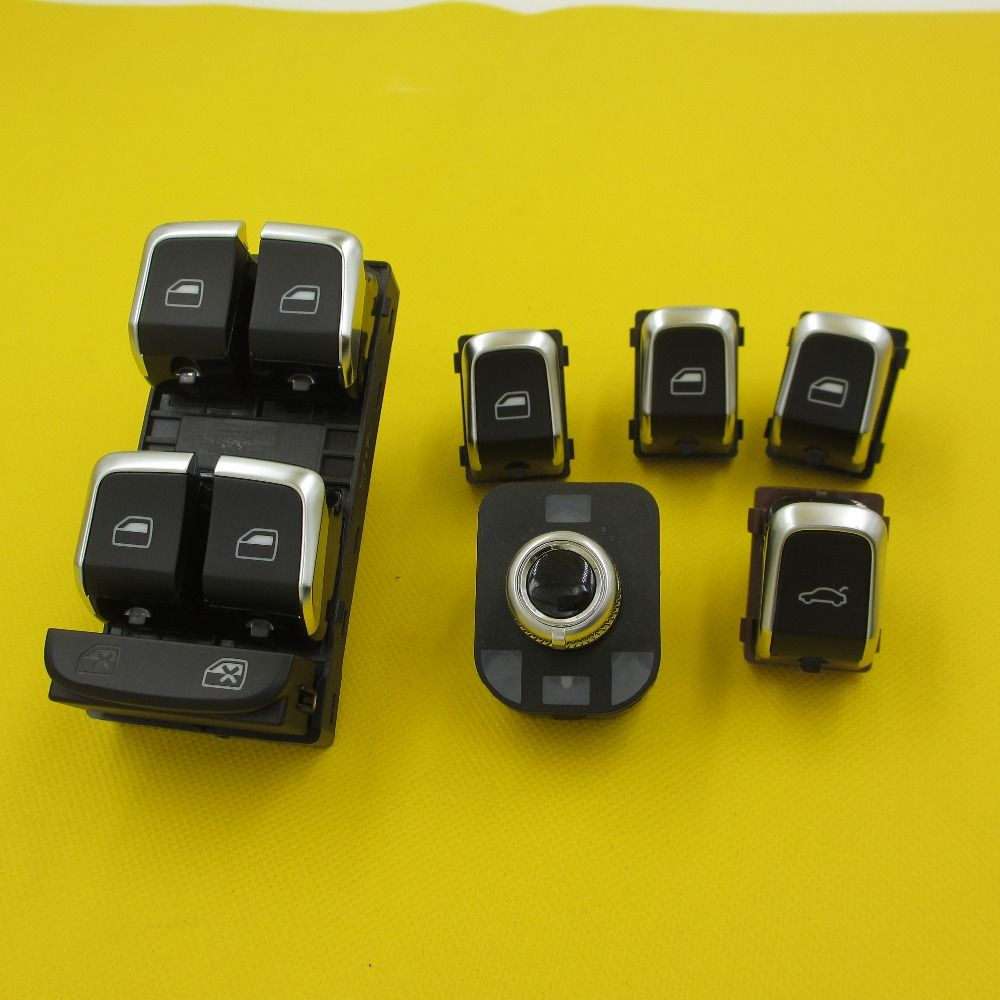 6 PIECES Car Electric window lifter switch Mirror Trunk switches button For Audi A4 B8 Q5 A5 2009-2015