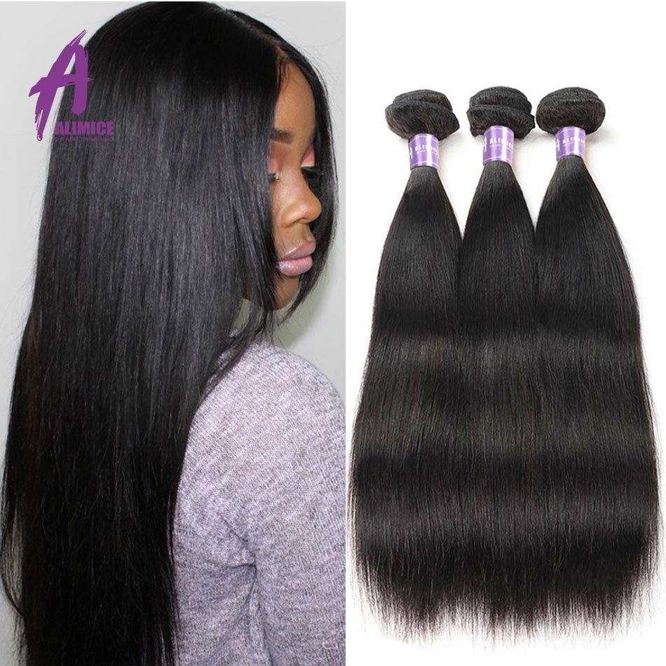 Alimice indien cheveux raides paquets de cheveux humains armure paquets 1/3/4 pièces cheveux indiens NonRemy Extensions de cheveux couleur naturelle