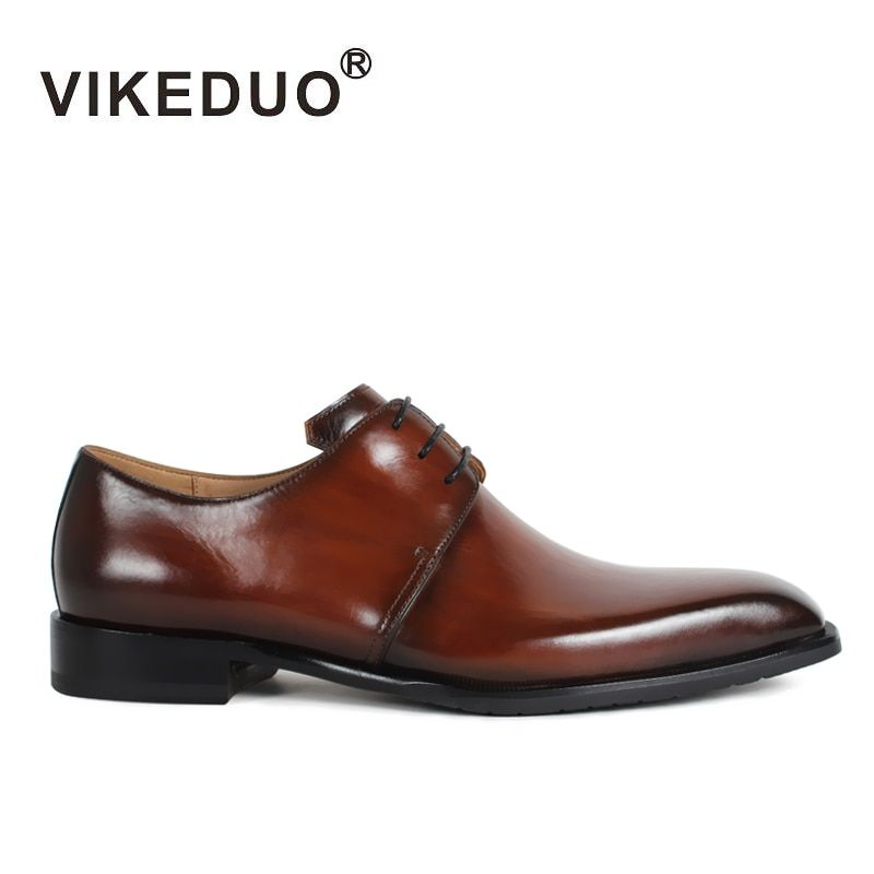 Vikeduo 2018 Handmade Designer Luxury Fashion Casual Wedding Party Brand Leisure Male Dress Genuine Leather Mens Derby Shoes