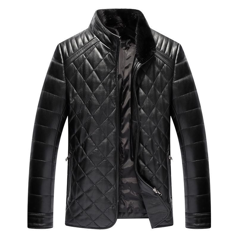 Зима овчины Для мужчин S кожа высокое качество Для Мужчин's Куртки 2017 зимние Утепленные Повседневное кожа хлопок пальто плюс Размеры L-4XL