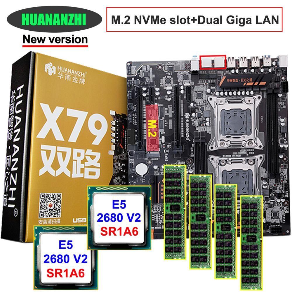 Rabatt motherboard set HUANAN ZHI dual X79 LGA2011 motherboard mit NVMe M.2 slot dual CPU Intel Xeon E5 2680 V2 RAM 32G (4*8G)