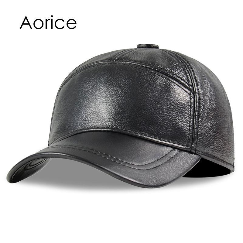 Aorice männer echtes leder kuh haut kappe 100% Echt Leder russischen winter warme armee mit ohren einfarbig mode hüte HL190