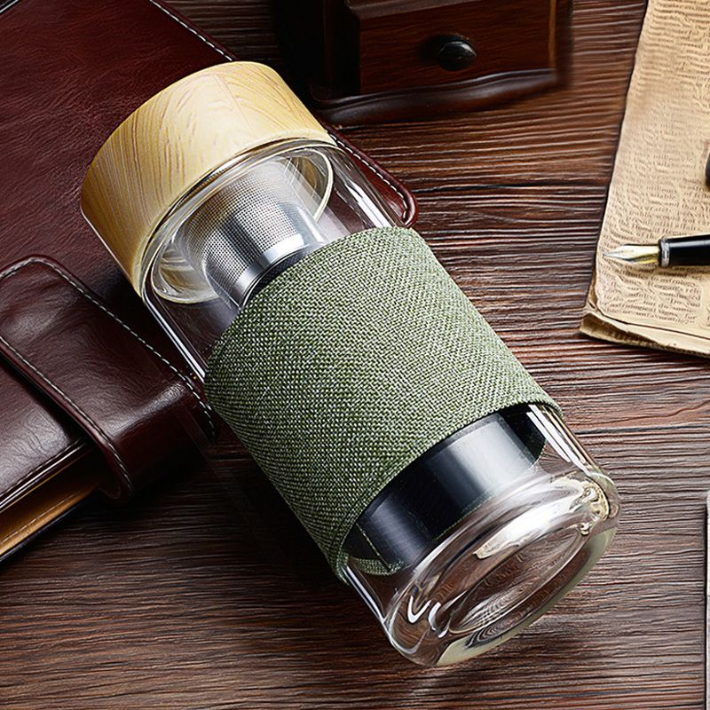 My Water Bottle Tea Infuser Glass Tumbler Stainless Steel Filter Portable Sport Leak Proof Drinking Water For Bottles With Cover