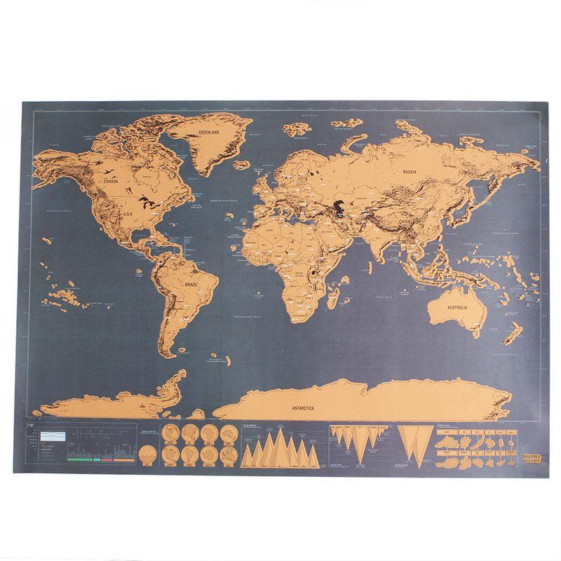 Carte de voyage effaçable décoration murale autocollant carte du monde personnalisé voyage carte à gratter chambre décoration de la maison autocollant mural