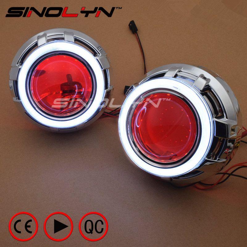 SINOLYN LED DRL Angel Eyes Devil Eye 3.0 Car Projector Lens Bi Xenon Headlight For Car Auto Tuning DIY Headlamp Lenses H1 H4 H7