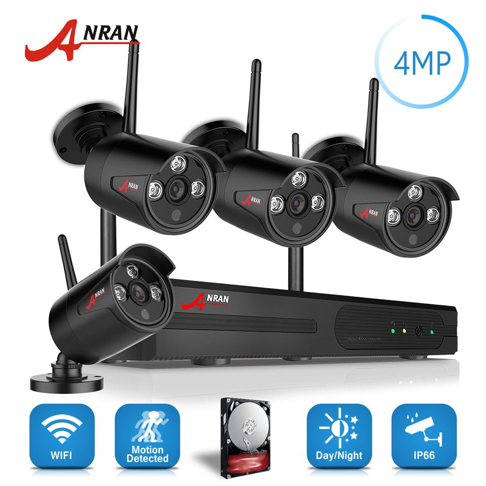 ANRAN Plug Play P2P 4.0MP HD Wireless Array IR Security Camera System 4CH 1440P WIFI Network NVR Outdoor Kit Hard Disk