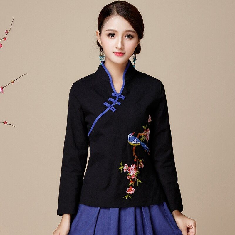 style women's coat, Yunnan, Lijiang, autumn and winter, new cotton, flax, embroidered flower, diagonal breasted shirt.